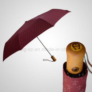 Automatic Open&Close 3 Folding Umbrella Wooden Handle Rain/Sun Umbrella (JF-AAG301) pictures & photos
