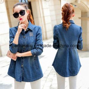 OEM Pretty Wholsale Girls Denim Jacket Women Cheap Coat pictures & photos