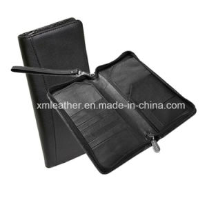 Zipper Leather Document Holder Travel Journey Passport Wallet pictures & photos