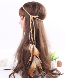Hot Bohemia Women Peacock Feather Headband Beads Double Layer Chain Hair Rope Head Hair Band Carnival Festival Hair Accessories