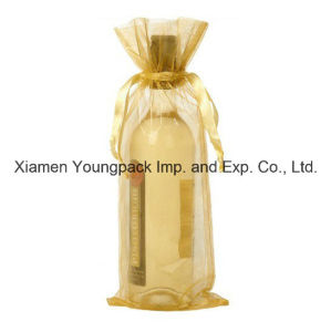 Wholesale Bulk Personalized Custom Silver Organza Fabric Wine Favor Bags pictures & photos