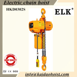 Elk 3ton Electric Chain Hoist with Manual Trolley-2chains-CE Certificates pictures & photos
