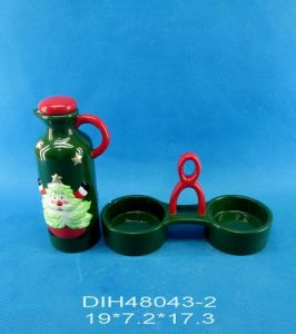 Hand-Painted Ceramic Oil & Vinegar Bottles with Stand pictures & photos