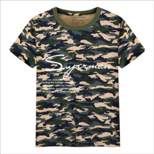 New Trend Hot Sale Letter Graphic Floral Cotton Casual T-Shirt pictures & photos