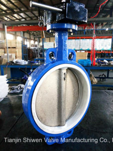 Worm Gear PTFE Seat Wafer Butterfly Valve pictures & photos