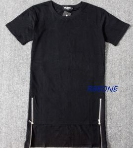 Hip Hop Lengthen Side Zipper T-Shirt Men Tops & Tees pictures & photos