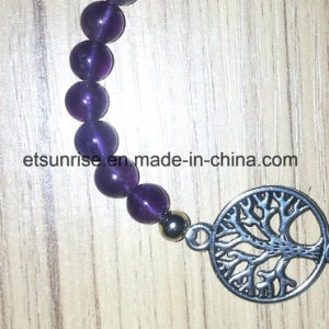 Semi Precious Stone Fashiong Natural Crystal Amethyst Beaded Charming Bracelet Jewellery pictures & photos