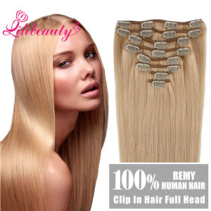 Full Head European Virgin Remy Clip in/on Human Hair Extension pictures & photos