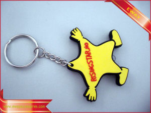 3D Soft Metal Ring Keychain Rubber PVC Keychain pictures & photos