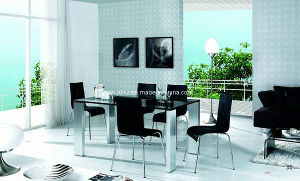 Tempered Glass Dining Table with Metal Frame (CT-59) pictures & photos
