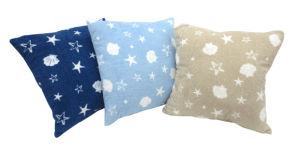 Printed Star Shell Patten Fleece Back Pillow