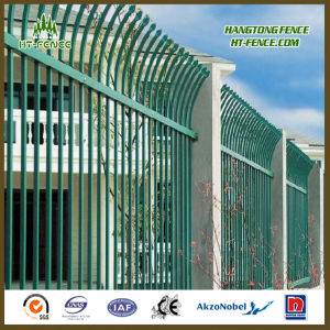 China Professional Hot Dipped Galvanized and Powder Coated/Paint Pressed Spear Top Railway Fencing/ Wrought Iron Fence pictures & photos