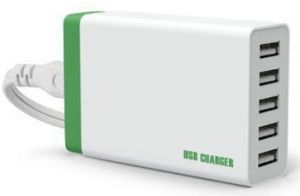 USB Quick Charger Adapter with Cable 5 Outlets