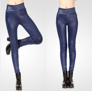 Wholesale High-Waisted Mature Women Fuax Leather Legging 12colors