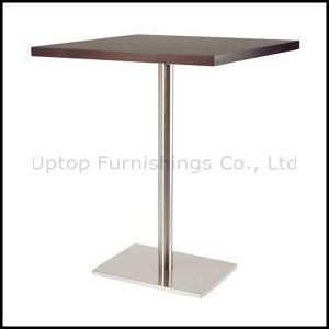 Stainless Base Wooden Top Four Seater Rectangle Bar Table (SP-BT654) pictures & photos