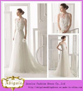 2014 New Style Elegant White Sheath Strapless Low Back Lace Bodice Long Tulle Unique Wedding Dresses Detachable Jacket