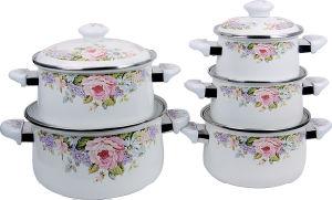 Enamel Cooking Pot 5PCS Set with Decals 16-24cm 1505D pictures & photos