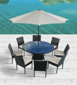 Outdoor Rattan Furniture for Dining Room with Parasol (JAVA 8) pictures & photos