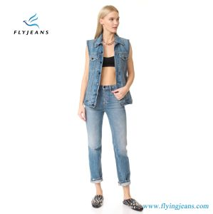 Oversized Denim Vest by Faded Denim Raw Arm Openings for Women and Ladies pictures & photos