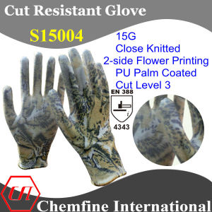 15g Super-Thin Knitted Glove with 2-Side Flower Printing & PU Coated Palm/ En388: 4343 pictures & photos