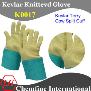 Kevlar Terry Glove with Cow Split Leather Cuff pictures & photos