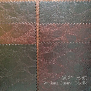 Home Textile Sofa Fabric 100% Polyester Faux Leather with Bronzing Treatment pictures & photos