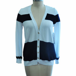 100%Cotton Long Sleeve Striped Women Cardigan Knitting Sweater pictures & photos