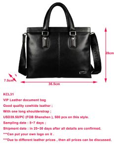 Good Selling Black Cowhide Leather Document Bag (KCL31) pictures & photos