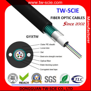 Aerial 2-12f Fibre Optic Cable GYXTW for Outdoor Use pictures & photos