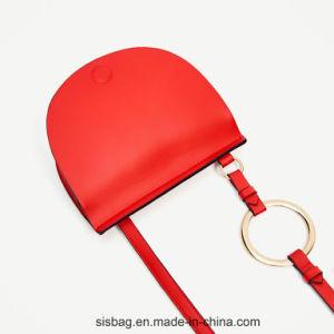Designer Metal Ring Satchel Bag Oval Shape Saddle Bag pictures & photos