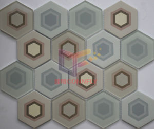 Ceramic Mix Cool Paving Glass Hexagon Shape Bathroom Mosaic (CFC661) pictures & photos