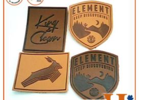 Wholesale Custom Labels Jeans Jacket Embossed Logo Laser Cut Embossed PU Leather Patch for Clothing pictures & photos