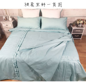Fine Soft Naked Pure Cotton Water Blue Pleated Bedding Quilt Bed Linen pictures & photos