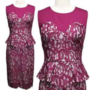 Romantic Sleeveless Lace One-Piece Dress (1-236-585)