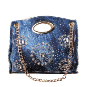 Promotional Handbag, Studs Gold Chain Ladies Denim Shoulder Bag
