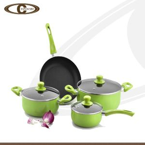 Eco-Friendly Cookware Set Green Outer Coating