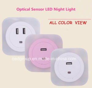 CE/RoHS Optical Sensor LED Night Lamp with Two USB Sockets pictures & photos