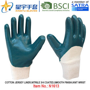 Cotton Jersey Shell Nitrile Coated Safety Work Gloves (N1613) pictures & photos