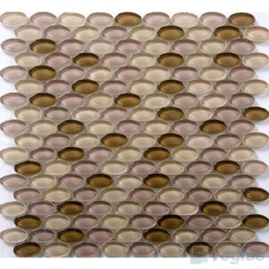 Oval Shape Brown Purple Mixed Crystal Glass Mosaic
