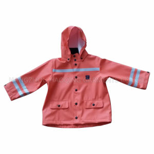 PU Hooded Winter Reflective Raincoat for Baby/Child pictures & photos