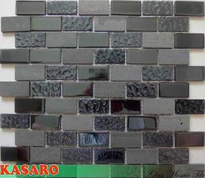Black Tile Glass Mosaic Mix Sandstone Mosaic Tile Decorative Tiles (KSL135029)