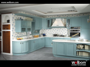 2015welbom Country Style Light Blue Wooden Kitchen Cabinet pictures & photos