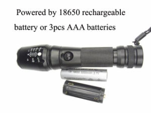 900 Lumens Xm-L T6 Rechargeable 18650 Battery Flash Light pictures & photos