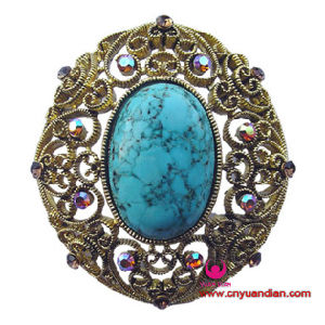 Fashion Turkish Blue Stone Antique Jewelry Brooch