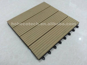Four Slate Wood Grooved Tiles Interlocked Snap Together DIY WPC Decking pictures & photos