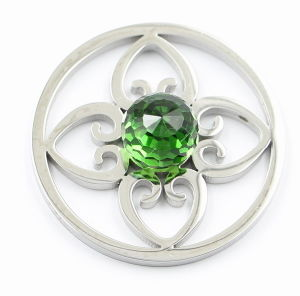Fashion Stainless Steel Flower Coin with Big Green Stone pictures & photos