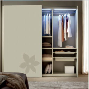 MDF Paint Door+Plywood Wardrobe with LED Light Clothes Rail pictures & photos