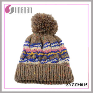 Multicolor Warm Men Stripe Knitted Cap Curling Ball Wool Hat pictures & photos