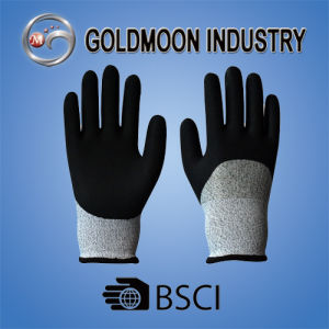 13G 3/4 Dipped Black Latex Cutting Resistance Level 3 Safety Work Glove pictures & photos