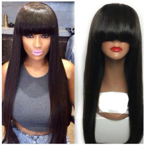 Silky Straight Indian Virgin Human Hair Full Lace Wig with Bangs pictures & photos